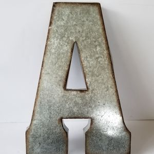"""""""A"""" Rustic Industrial Galvanized metal letter A"""